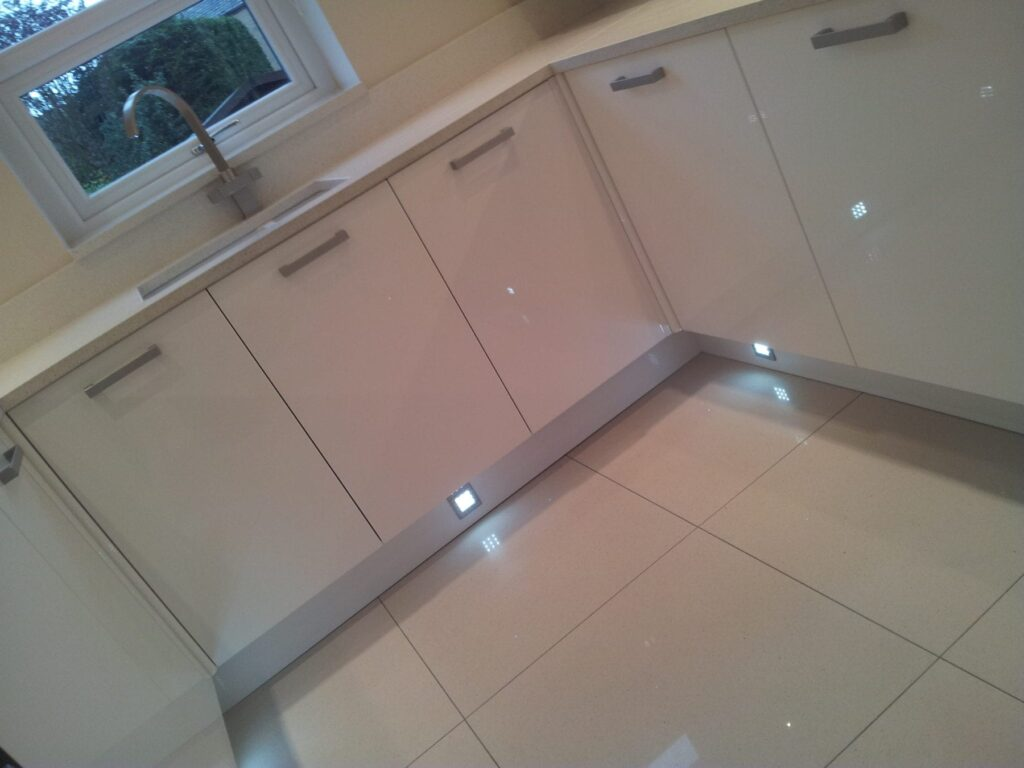 Glamorous kitchen in bolton before after shots for Kitchen floor tiles white